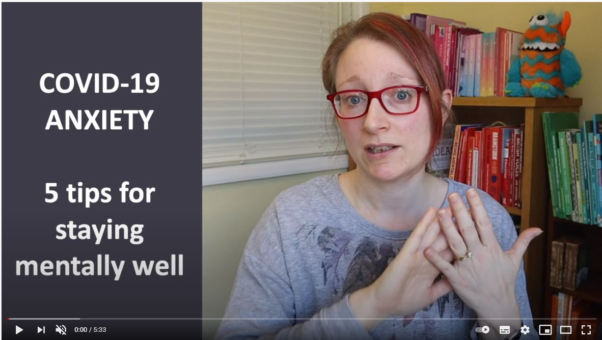 5 tips for staying mentally well during Covid 19. Thanks to Dr Pooky Knightsmith